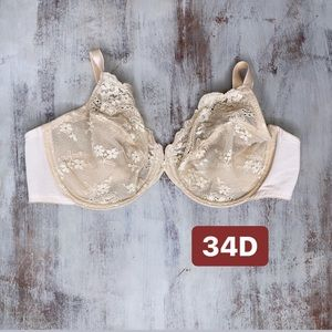 Wacoal Tan Lace Full Coverage Unlined Bra 34D